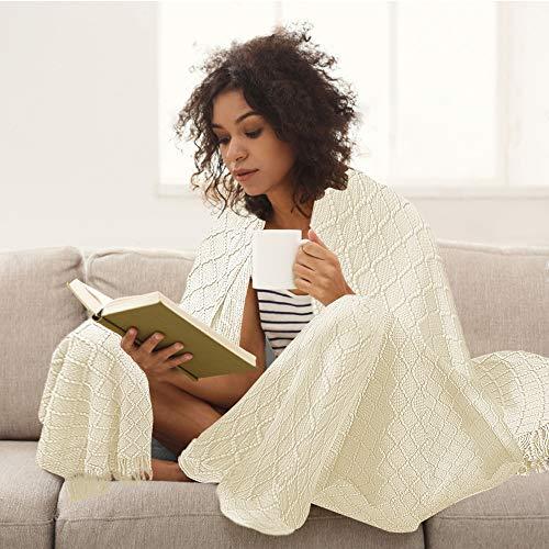 Manta de punto, manta de punto con borla hecha a mano, manta de verano, manta de diseño para sofá, cama y como manta para ver la televisión o tomar un aperitivo en la silla o la oficina (blanco crema)
