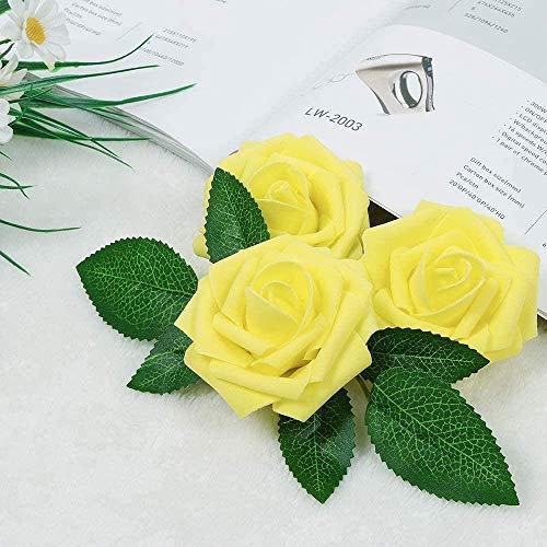 QWEA Flores Artificiales Fucsia Rosas Falsas 25 Piezas Tallo de Rosas realistas para Ramos de Boda Centros de Mesa Fiesta de Despedida de Soltera Decoraciones para el hogar