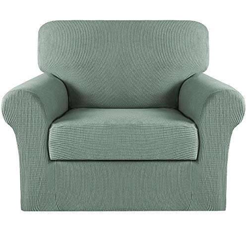 Turquoize 2 Piece Sofa Covers Chair Cover Couch Covers Slipcovers Furniture Protector for Living Room Arm Chair Slipcover with Elastic Bottom Jacquard Small Check (Dark Cyan, Chair Cover)
