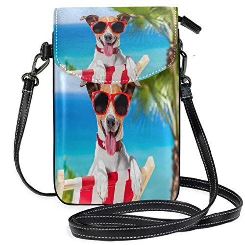XCNGG Monedero pequeño para teléfono celular Summer Vacation Dog Cell Phone Purse Wallet for Women Girl Small Crossbody Purse Bags