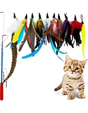 Feather Teaser Cat Toy Interactive Feather Teaser Wand Toy with 1 Poles 7 Attachments Worm Birds Feathers for Kitten Cats