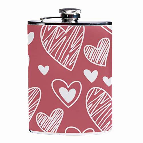 Rundafuwu Pallone per liquore, Leak Proof Liquor Hip Flask 7 oz Flagon Mug with Happy Valentine Day Heart Print Pocket Container for Discrete Shot Drinking of Whiskey Liquor