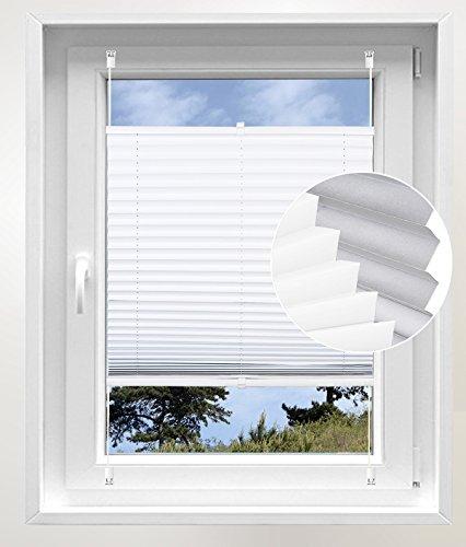 Plissee Verdunklung in Weiß 75x220 cm Faltrollo aus Polyester mit Thermobeschichtung Jalousie Klemmfix ohne Bohren oder mit Spannschue Rollo für Fenster und Tür Easyfix verspannt Plisseeanlage