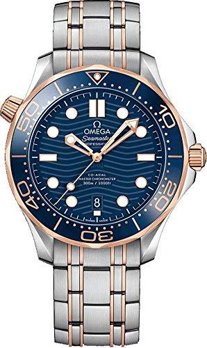 Omega Seamaster 210.20.42.20.03.002 - Reloj de Pulsera para Hombre, Esfera Azul, Oro Rosa de 18 Quilates y Acero