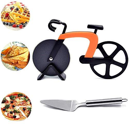 DAIRF Fahrrad Pizzaschneider Edelstahl Pizza Schneider Pizza Schaufel mit Scharfem Schneiderad & Ständer für Weihnachten Party Geschenke mit Backen Werkzeuge, Home Kitchen Zubehör