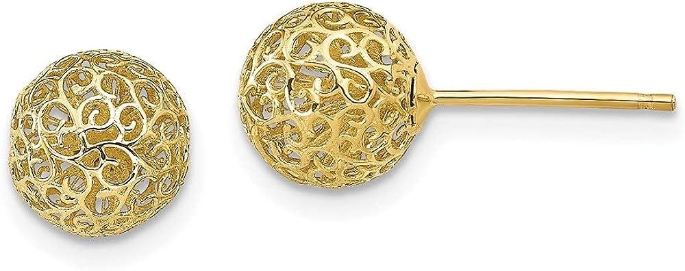 Leslie's 14k Yellow Gold 7.75MM Filigree Ball Earrings