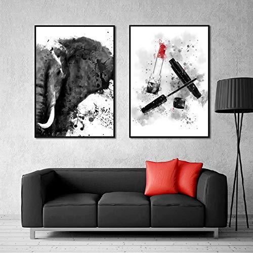 hetingyue Rahmenlose Aquarell nordischen Elefanten Poster und Print Mascara Lippenstift auf Leinwand Wand Künstler Dekoration HD Bild Wohnzimmer 60 x 80 cm