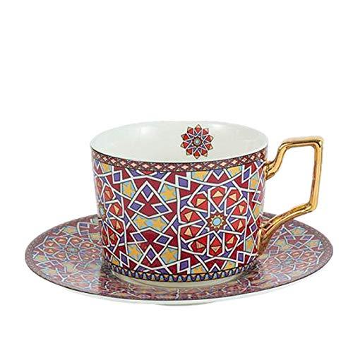 HRDZ Taza de té de cerámica Colorida del Capuchino de la Taza de café con la Taza de la manija de Oro