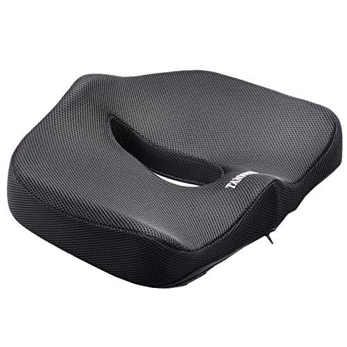 Tanness Kissen - Orthopädisches Memory Foam Stützkissen für Ischias, Steißbein und Hüftschmerzen - Druckentlastung auf Rücken und Steißbein im Autositz, Bürostuhl oder Rollstuhl