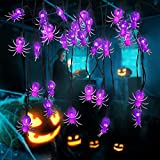 YOUNGAR Halloween Decor Spider String Lights, Solar String Light,2PACK 20ft 30 LED Outdoor Decorative Lights for Patio, Garden, Gate, Yard, Halloween Christmas Decoration (2Pack,Spider)