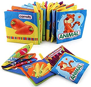 Beauenty 6pcs Baby's First Cloth Book Set Soft Fabric Book Early Educational Preschool Learning Book for Little Kids for Kids