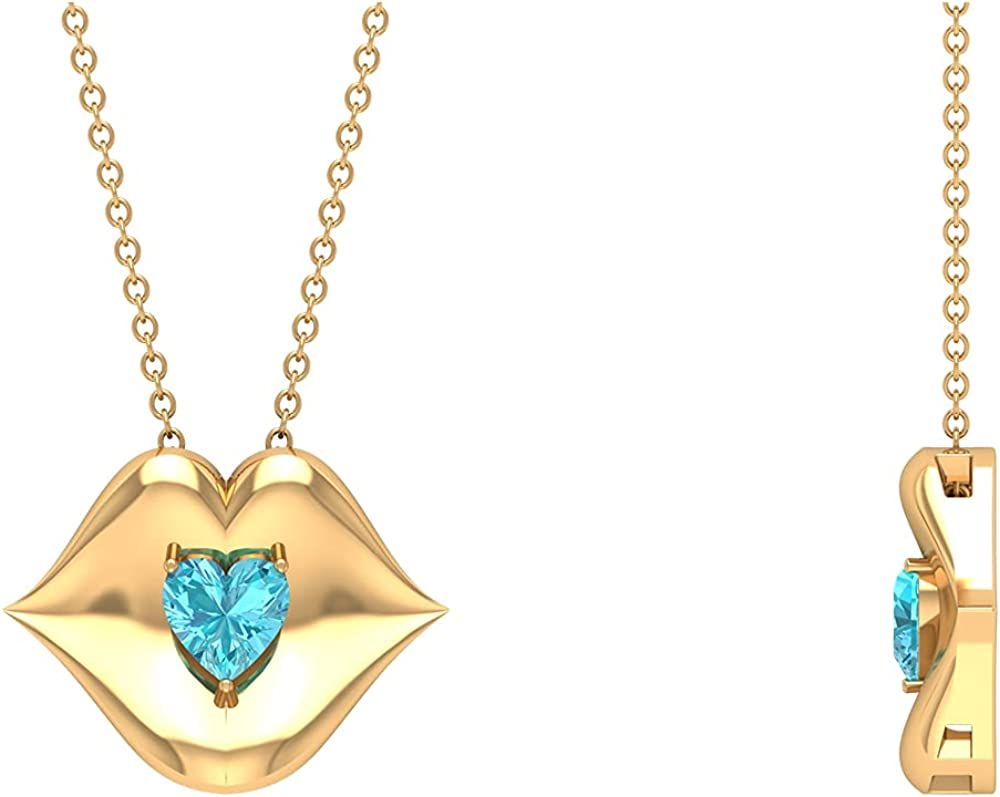 1/2 CT Heart Shape Swiss Blue Topaz with Gold Lips Pendant Necklace (AAA Quality),14K Yellow Gold,Swiss Blue Topaz
