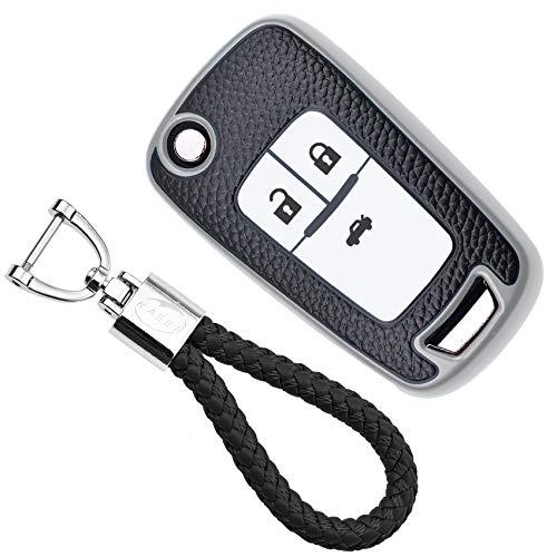 KASER Cover Guscio Chiave Silicone compatibile per Chevrolet Opel Mokka Astra Corsa Cruze Aveo Zafira Portachiavi TPU Effetto Pelle Protezione Telecomando Auto (argento)