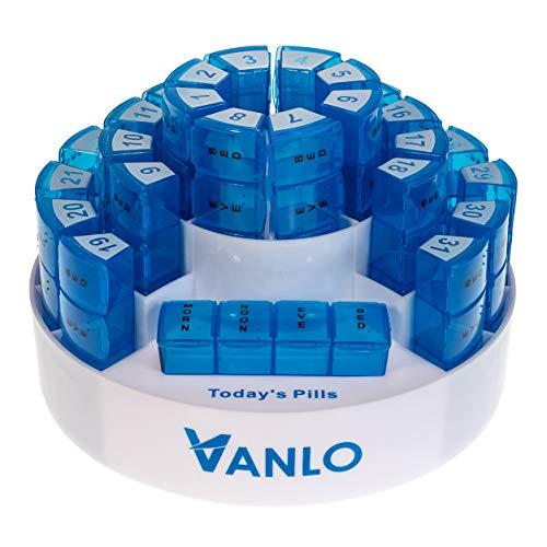 VANLO Pilulier mensuel (31) avec 4 compartiments et une étagère - Anglais
