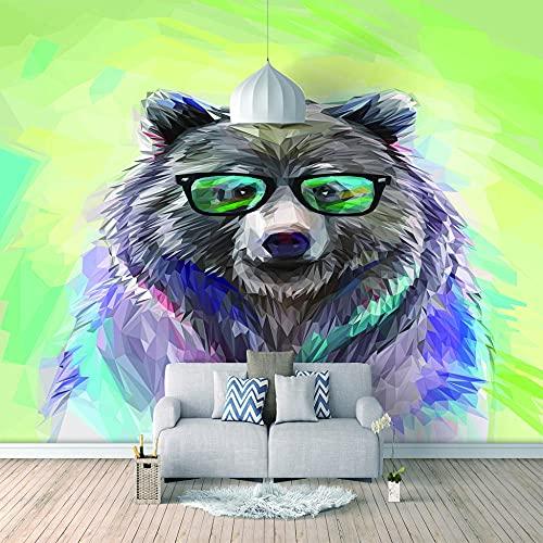 Papel Pintado 3D Foto Murales Oso verde,Papel Tapiz Fotográfico Premium No-Tejido Mural Apto para Sala de Estar Dormitorio Decoración de la Papel Tapiz 350x256 cm - 7 tiras