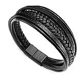 murtoo Bracelet Homme Cuir Véritable Bracelet et Acier Inoxydable Bracelet Cuir Bracelet pour Les Hommes (Noir,20.5)