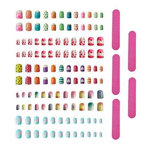 Juego de 120 uñas postizas para niñas con presión + 5 limas de uñas artificiales para niños, puntas de uñas postizas de arcoíris, uñas acrílicas coloridas, para decoración de uñas, estilo A