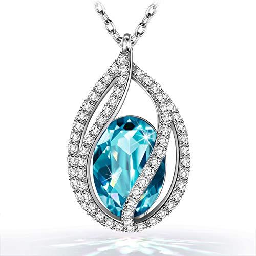 Kami Idea - Tränen der Meerjungfrau - Halskette, Kristall von Swarovski, Originelle Entwerfung, Symbol für Sicherheit und Glück, Geschenkverpackung, 45 + 5 cm