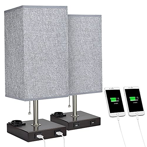 Depuley Tischlampe Vintage Warmweiß, Nachttischlampe 2er Set, mit E27 Fassung, mit 2 USB Anschluss & Stoffschirm, Schreibtischlampe Nachtlicht Kinderzimmer für Lesen, Wohnzimmer, Schlafzimmer, Café