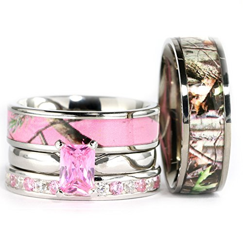 Kingsway Jewelry 4pcs His Hers Camo Pink Radiant Stainless Steel Sterling Silver Wedding Ring Set (Size His 09, Hers 09)