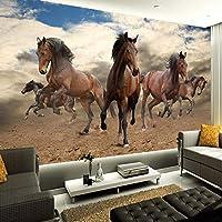 壁紙の壁画大きな壁の絵 カスタム3D壁画壁紙不織布ステレオスコピックギャロッピング馬家の装飾壁アートリビングルームの寝室の壁紙ロール-400X280cm