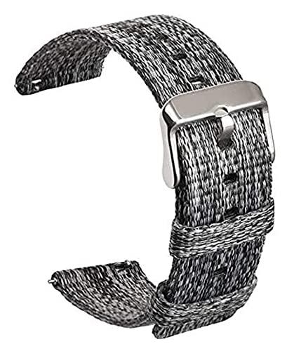 Beapet Banda de Reloj de Reloj de Acero Nylon Smart Watch Band para Sport Tejido Lienzo Correa de liberación rápida (Color : 24mm, Size : Black Gray)