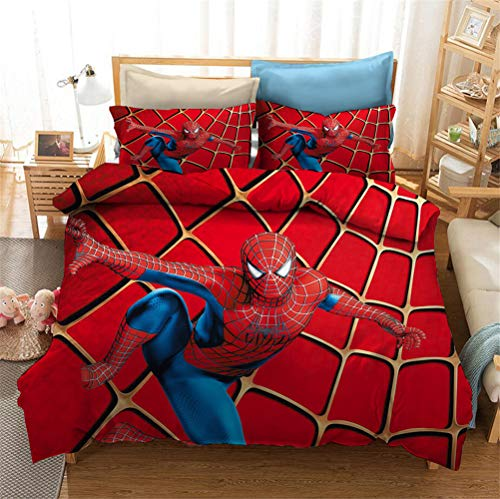 Enhome 3D Bedding Set - Quilt Cover with Zipper Closure + Pillowcases, Microfiber Duvet Cover Set Easy Care for Children Teen Adult Single Double King Bed (Spiderman 2,200x200cm)