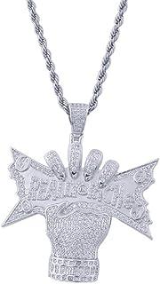 Moca Jewelry - Collana singola con ciondolo a forma di diamante placcato in oro 14 K, con catena in corda da 61 cm, per uo...