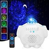 Star Projector, GRDE Galaxy Projector 4 in 1Night Light Projector Ocean Wave Projector with Bluetooth Music Speaker for Baby Kids Bedroom/Party Decoration/Home Theatre/Night Light Ambiance【White】