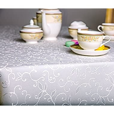 Turkish Tablecloth Polyester Table Linen, Stain Resistant, Wrinkle free, Non-Iron, Dust-proof, Heavy Duty, Oblong, Square, Round – Table cover for Wedding, Easter, Gift (IVORY, Rectangular 60 x104 )
