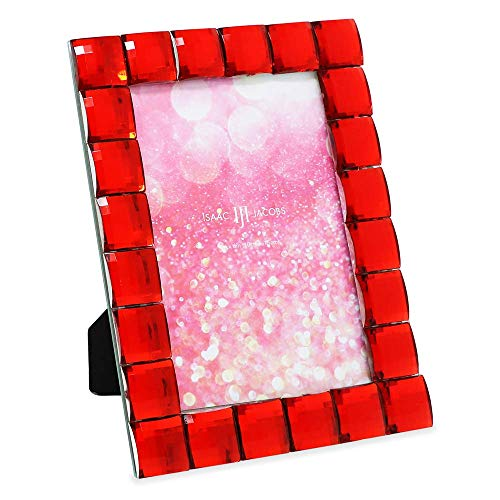 Isaac Jacobs Decorative Sparkling Red Jewel Picture Frame, Photo Display & Home Décor (4x6, Red)