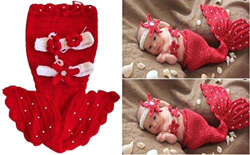 Meerjungfrau, Neugeborenes Baby / Junge Häkelarbeit Strick Kostüm Foto Fotografie Stütze Hüte Outfits (Rot)
