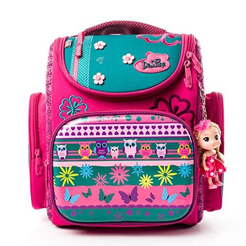 Delune School Backpack for Girls Kids School Bag with Lovely Doll - Cute/Lightweight/Waterproof (3-124-FBM)