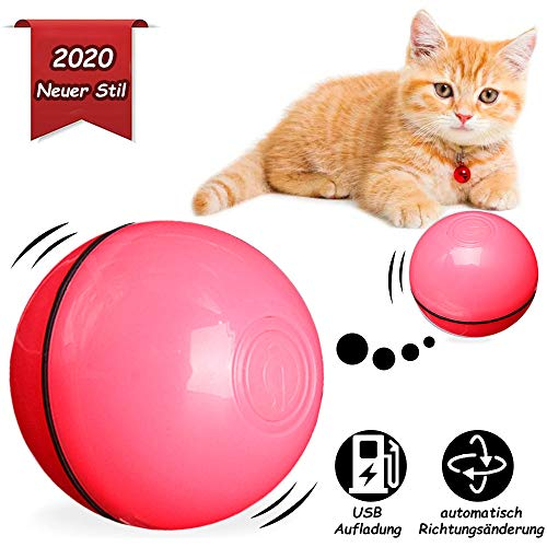BEIAOSU Katzenball Katzenspielzeug Ball Katzenkugel - Interaktives Katzenspielzeug Ball für Haustier Katze Hunde Rotierender Katzenball mit USB Kabel,Pink