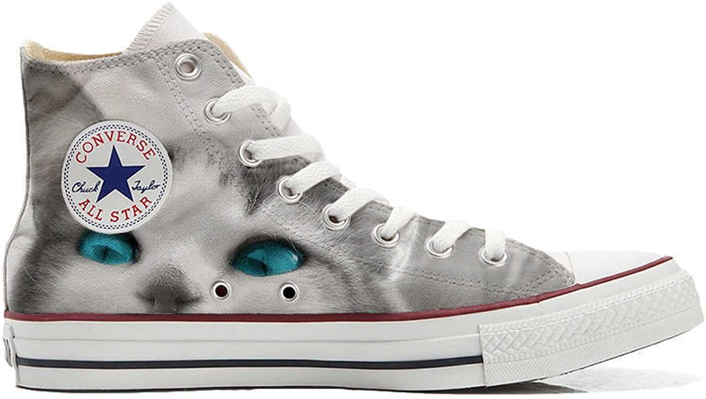 Converse All Star personalisierte Schuhe - Handmade schuhe - Weiß cat with Blau Eyes  | Outlet Store Online