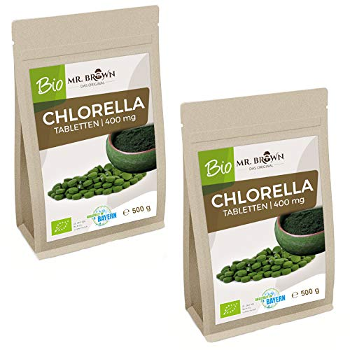 BIO Chlorella Tabletten 1000g Packung - 400 mg Presslinge | BIO Alge ohne Zusätze | laborgeprüfte Qualtität | vegan | 2 x 500g