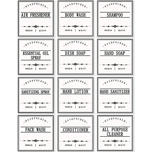 GMISUN Label Stickers for Bottles, 12Pack Waterproof Hand Soap Dispenser Labels for Plastic/Glass Bottles, Removable Farmhouse Bathroom/Kitchen Labels for Dish, Lotion Dispenser, Shampoo Conditioner