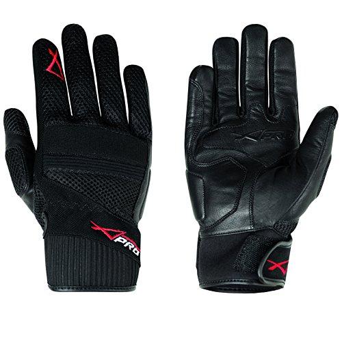 Hoehe Qualität Leder Textil Handschuhe Sommer Motorrad Roller Schwarz XXL