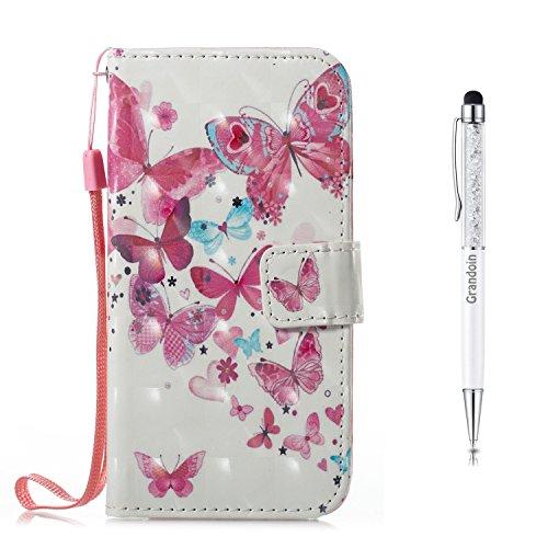 Grandoin iPhone X Hülle, Handyhülle im Brieftasche-Stil für Apple iPhone X,3D Handyhülle Leder PU Magnet Flip Case Schutzhülle Kartensteckplätzen und Ständer Handytasche (Rosa Schmetterling)