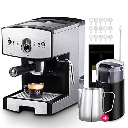 Cafetiere Expresso, Mousseur à Lait pour Cappuccino Pression de 20 bars/1.5 L Amovible Réservoir D'eau/1050 watts/pour le domicile/bureau - Noir