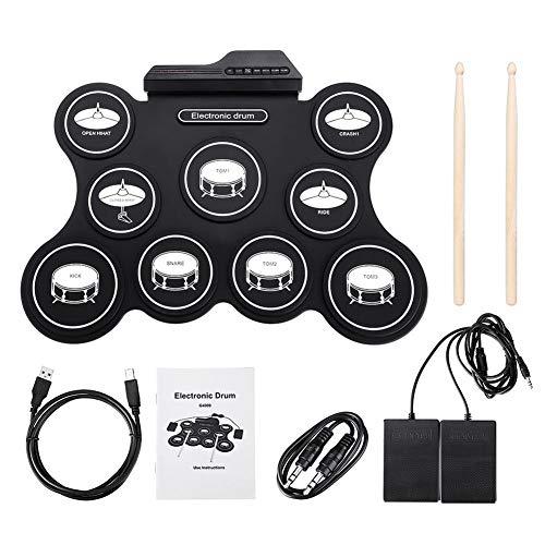 Percussion Set Tragbare Roll Up Drum Kit Trommel mit Drumsticks Fußpedal for Anfänger USB-MIDI-9-Pads E-Drum