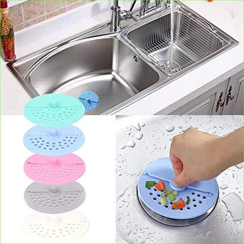 Filtro de alcantarillado rotativo anti-obstrucción, Colador de fregadero flexible anti-obstrucción, Colector de pelo de drenaje de ducha, Uso para bañera de baño fácil de instalar y limpiar 10PCS