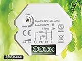 ECOBELLE® Smart Dimmer/Regulador de intensidad por bombillas LED (max 150W) y iluminación tradicional (max 200W), 1-200W, Traling Edge