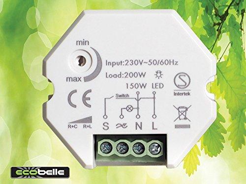 ECOBELLE Smart Dimmer per LED (max 150W) e illuminazione tradizionale (max 200W), 1-200W, Traling Edge