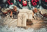 Qinunipoto クリスマス Merry Christmas 写真撮影用 背景布 背景 布 写真 摄影 撮影用 人物撮影 雪 プレゼント 背景シート 写真館 撮影スタジオ用 パーティー ポリエステル 洗濯可 2.5x1.5m