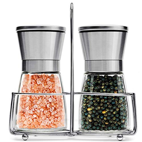 Salt and Pepper Grinder Set with Stand | Best Salt and Pepper Shakers  Adjustable Coarseness amp Ceramic Mechanism  Premium Quality Stainless Steel amp Glass  Salt and Pepper Mill  Perfect for Kitchen