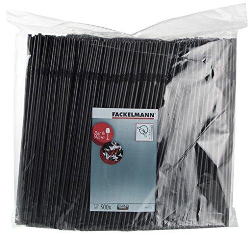FACKELMANN Knicktrinkhalme, Kunststoff, schwarz, 23 x 0.5 x 0.5 cm, 500-Einheiten