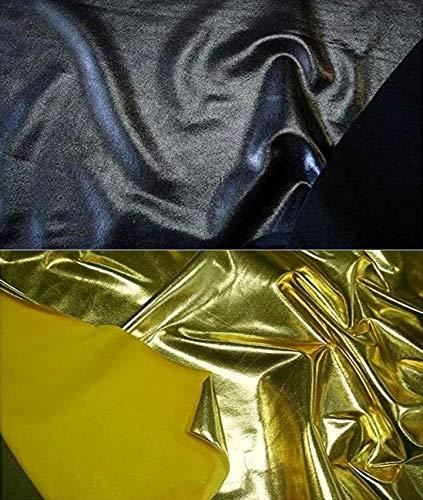 Fabrics-City SCHWARZ BI-STRETCH LYCRA STOFFLACK METALLIC LACK METALLIC STOFFE, 2483