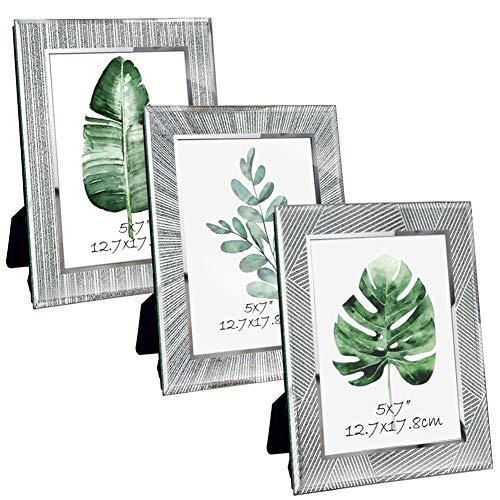 Giftgarden Marco de Fotos 13x18 de Vidrio, Portafotos Multiples de Cristal para la Mesa, con Diseño Original y Moderno del Borde, Set de 3