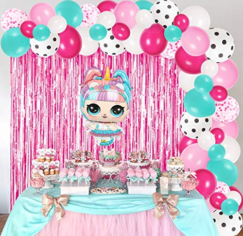 Surprise Balloons Birthday Party Decorations Supplies for Girls, Surprise Balloon Arch Garland Kit, Pink Foil Curtains and Rose Red Pink Blue White Polka Dots Latex Balloons for Kids